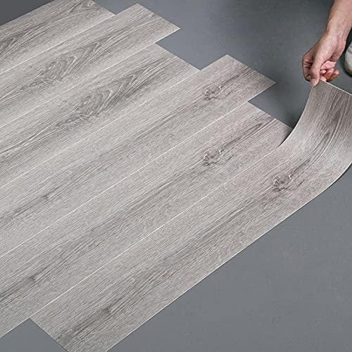 LC&TEAM 20 pcs Bodenbelag selbstklebend Laminat dielenoptik 90x15 cm Vinilbodenbelag verdicke Aufkleber Stärke 0,50 mm Bodenaufkleber Holzboden-Effekt ca. 2.7 m² (Holz-Farbe B)