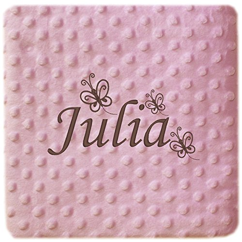 Manta Bebé Personalizada Nombre y dibujo de Tres Mariposas, para coche y minicuna.