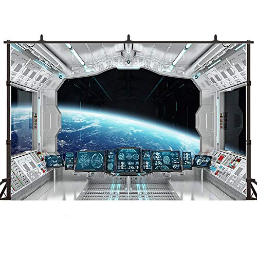 Felizotos White Spaceship Backdrop Outer Space Station Spacecraft Interior Background Universe Galaxy Aircraft UFO Astronomy Photography Backgrounds 6x4ft