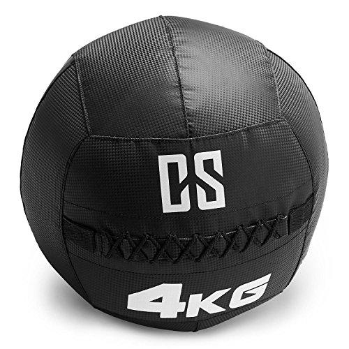 Capital Sports Bravor - Medizinball, Wall Ball, Fitness Ball, Krafttraining, Ausdauertraining, Functional Training, extrem griffige Oberfläche, Studio Qualität, schwarz, Gewicht: 4 kg