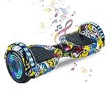 HappyBoard 6,5 Pollici Hoverboard Monopattini Elettrici Autobilanciati Scooter Elettrico Autobilanciante, Ruote da Skateboard con Luce a LED, Motore 700 W Bluetooth per Bambini e Adulti (Hip-Hop)