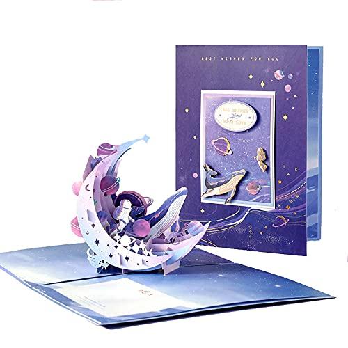 2 Stücke 3D Pop-Up Grußkarte Hot Gold Moon Diy Nachricht Blege Birthday Card Lila Klapppapier Geschnitzte Karte Für Geschenk Kindertag Muttertag Grußkarten Danke Karte