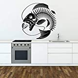 Wall Stickers Fishing Skeleton Wall Decal Abstract Seafood Restaurant Fish Rod Wall Stickers Waterproof Shop Window Door Decoration 79x77cm