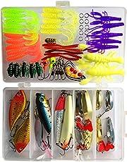 XGEEK 250 PCS Cebo de Pesca Mixed Lots, Incluye Hard Lure Minnow Popper Crankbaits VIB Topwater Diving, Cebo de natación de plástico Blando, Cuchara para Salsa, Cebo de Agua Dulce con Caja de Tackle