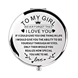 Birthday Gift 18 Year Pocket Compact Travel Mirror Gifts for Teenage Girls 16-18 for Woman Birthday Gifts (Silver to My Girl)