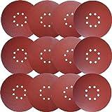 Sackorange 30 PCS 9-Inch 8-Hole Hook-and-Loop Sanding Discs Sander Paper for Drywall Sander(5 Each of 80 100 120 180 240 400 Grits)