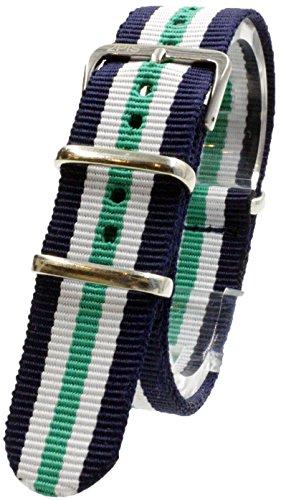 『【 気分に合わせて簡単交換 】 ( ネイビー/ホワイト/グリーン 20mm ) NATOタイプ 時計ベルト 腕時計ベルト ナイロン 2PiS 【 交換マニュアル付 】』の1枚目の画像