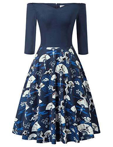 GRACE KARIN cocktailkleider partzkleider 50s Kleider Damen Vintage Kleid Blumen Royalblau Kleid CL2156-2 S