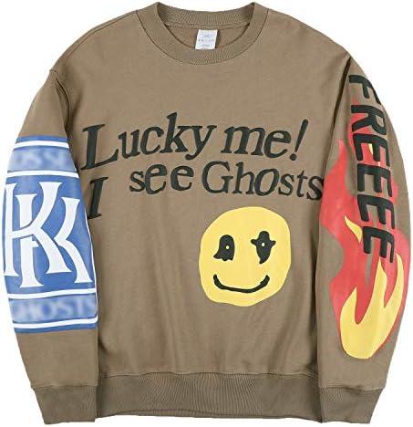 THE SCOTTS Men Crewneck Sweatshirt Kanye Lucky Me I See Ghosts Sweatshirt Graphic Hip Hop Sweatshirt product image