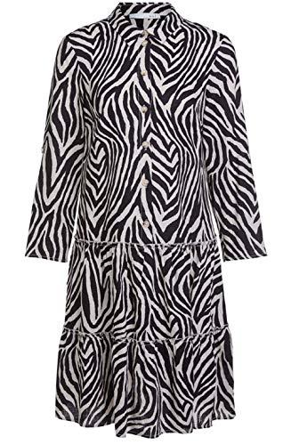 Oui Kleid in Zebra-Optik aus reinem Leinen schwarz (0991 Black Offwhite) 38