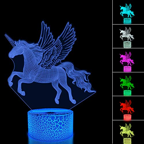 Einhorn Nachtlicht Kinder Nachtlicht 3D Optische Täuschung 16 Farben Ändern Beleuchtung Geburtstag...