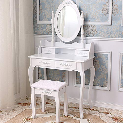 Youyijia Dressing Table with Mirror and Stool White Vanity Desk with 4 Drawers Wooden Makeup Dresser Furniture for Bedroom, Dressing Room, Girl's Room
