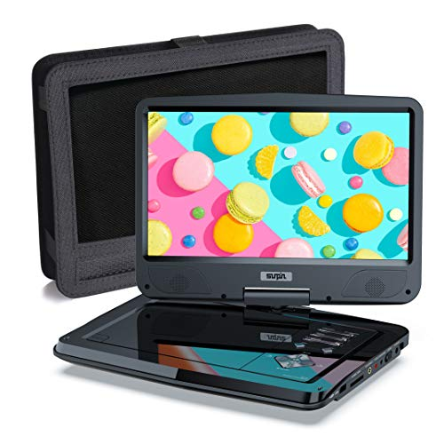SUNPIN Portable DVD Player 12.5' for Car and Kids, 10.1 inch Eyesight Protective HD Swivel Screen, Stereo Speakers&Dual Earphones Jack, Support Sync TV/USB/SD Card, Car Headrest Mount Case,Black