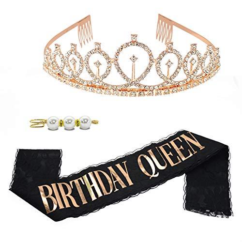 TECHSHARE Birthday Queen Schärpe, Geburtstags-Krone, Birthday Krone, Geburtstag Schärpe, Deko Geburtstag Frauen(Schwarz )