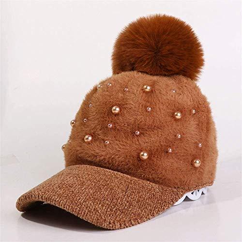 Miwaimao - Berretto da baseball in pelliccia di peluche per autunno e inverno, da donna, curvo, colore caramello, 56-58 cm