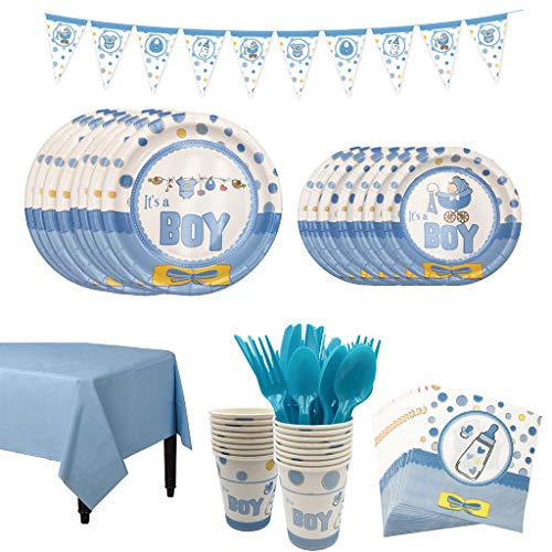 Amycute 66 Pezzi Festa di Compleanno per Baby Shower, It's A Boy Gender Reveal Stoviglie Include Piatti, Tazza, Tovaglioli, Tovaglia, Banner, Forchette, Coltelli e Cucchiai(Blu)