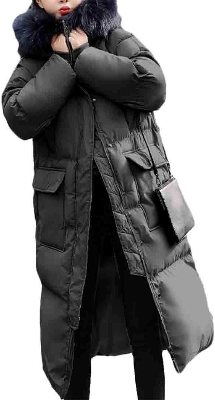 Maweisong Women's Maxi Down Coat Faux Fur Hood Warm Outwear Overcoat