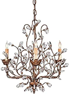 Currey & Company Bud Chandelier Crystal Nature Inspired Natural 3-Li