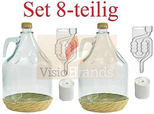 MultiDepot Set da 8 Pezzi. Biberon BDO5Z - Boccale per Birra + Tappi + Tubi + Chiusura a Vite, 5 l