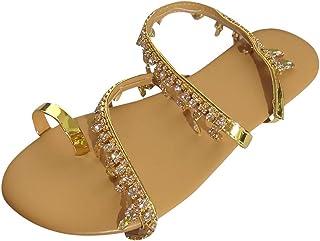 Pantofole Sandali Scarpe Donna Punta aperta con perline piatte Scarpe da spiaggia comode e traspiranti Sandali romani leggeri