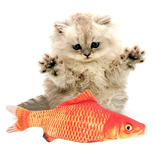 xinpeng Juguete Pez para Gato, Juguete Pez Interactivo Eléctrico 28Cm Juguete de Movimiento de Simulación de Felpa para Gatitos, Gatos de Interior, Recargable por USB (Rojo)