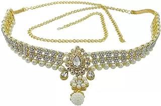 ABHRIK IMITATION Women and Girl Fashion Metal Stretchable Gold Plated Belly Chain Waist Belt Jewellery kamarband Waistban...