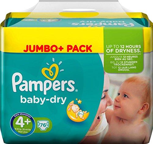 PAMPERS BABY DRY GR.4+ 9-20kg JUMBO+ 76ER