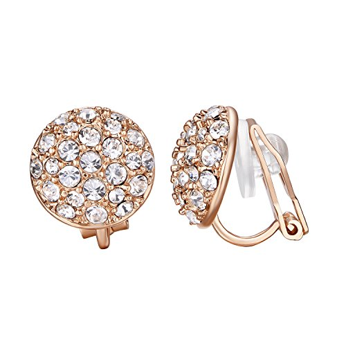 Yoursfs Circular Rose Gold Clip Pendientes para mujeres con cristales austriacos redondos
