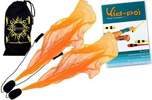 Pro ANGEL WINGS Poi Set (Orange) Flames N Games Spiral Poi + Kid Poi DVD (in Deutsch) +Reisetasche. Swinging Poi und Spinning Pois! Pois für Anfänger und Profis.