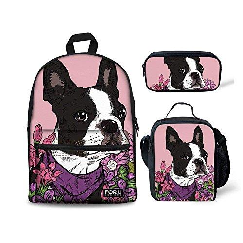 HUGS IDEA Cute Children School Bag Set Flower French Bulldog Printed Backpack with Lunchbag Pencil Case