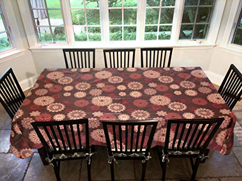 Covers For The Home Deluxe Stitched Edged Flannel Backed Vinyl Drop Tablecloth - Medallion Pattern - 60' x 90' - Oblong