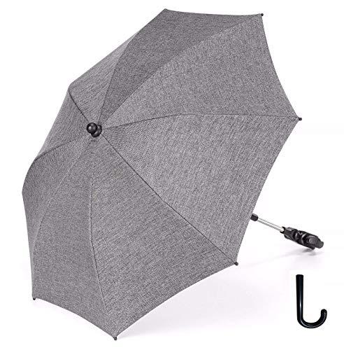 Sonnenschirm Kinderwagen Luchild Universal Sonnenschirm Sonnenschutz Kinderwagen Buggy 73 cm Durchmesser mit Einem Regenschirmgriff (Grauer Denim)