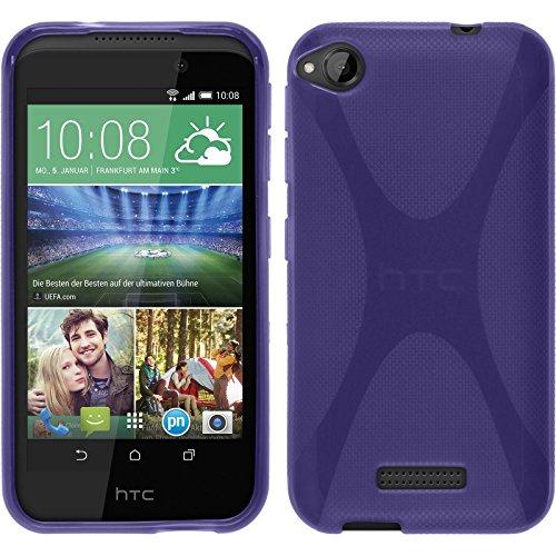 PhoneNatic Case kompatibel mit HTC Desire 320 - lila Silikon Hülle X-Style + 2 Schutzfolien