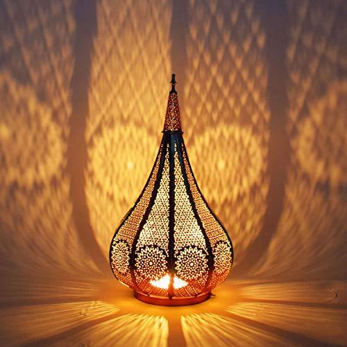 Farol portavelas Oriental de Metal - Candelabro para el jardín - Decorativo para la Mesa - Ezana Dorado 36cm - transmite Buen Ambiente - Pasa un Buen rato en el jardín
