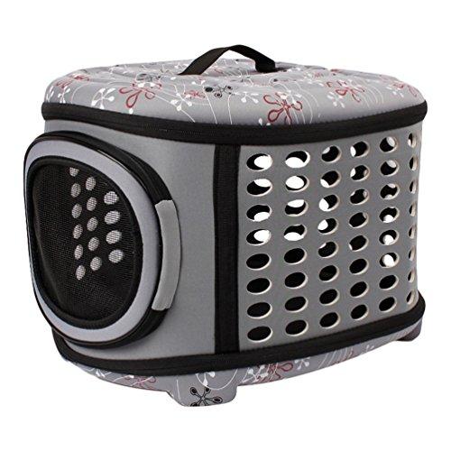 JEELINBORE Portador Bolsa de Transporte Cómodo Transportín Plegable para Mascotas Perros Gatos (Gris, L)