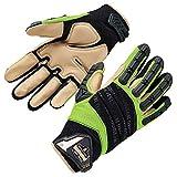 Ergodyne ProFlex 924LTR Work Gloves, Impact Reducing, Leather Reinforced Palm, Medium, Lime