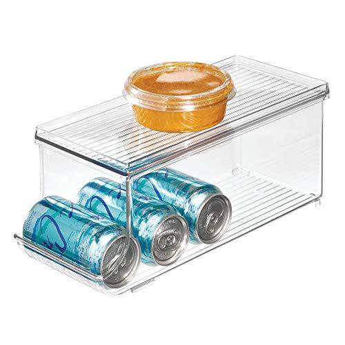 iDesign Aufbewahrungsbehälter mit Deckel, kleine Kühlschrankbox aus Kunststoff für neun Getränkedosen, Küchen Organizer für Konserven, durchsichtig