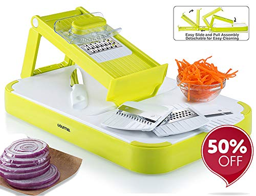 Gourmia GMS9255 Mandoline Slicer & Cutting Board Set Kitchen Slicer & Food Prep Board Combo With 4 Interchangeable Blades & FREE Bonus Knife, Durable