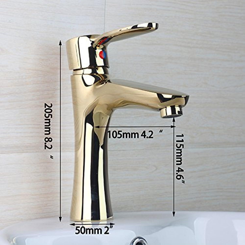 Golden Badezimmer Waschbecken Wasserhahn Messing Hot & Cold Mixer Deck montiert Tippen Badewanne Waschbecken Messinggehuse, einseitiger Griff