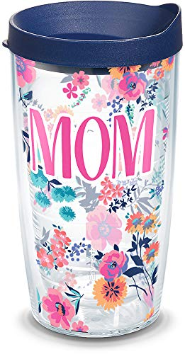 Tervis Mom Dainty Floral Insulated Tumbler with Wrap and Lid, 16 oz - Tritan, Clear