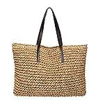 Cxjff Bolsa de Mujeres de Hombro Bolsa de Playa de Paja Totes Hobos Bolso de Vacaciones Weekender Top-Mango (Color : Light Brownb012)