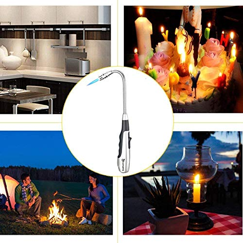 Larruping Torch Lighter Candle Lighter Butane Lighter 360 ° Refillable Safe Swivel Jet Flame Lighter Gas Windproof Refillable Fireworks Outdoor Fire Lighter For Kitchen Barbecue Fireplace Camping (20)