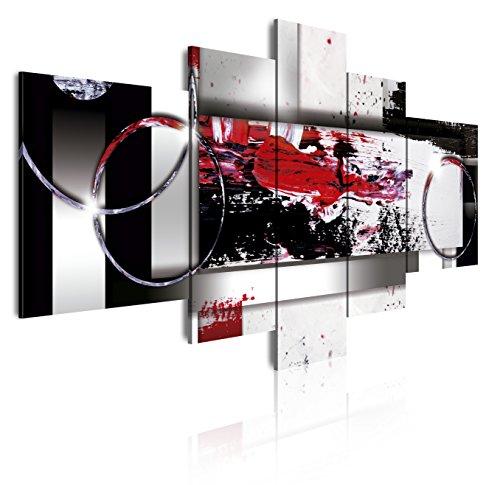 DekoArte - Cuadros Modernos Impresión de Imagen Artística Digitalizada | Lienzo Decorativo Para Tu Salón o Dormitorio | Estilo Abstracto Moderno Colores Plata Negro Rojo | 5 Piezas 180 x 85 cm XXL