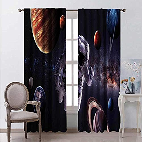 Waple Blackout curtains eyelet for living room Planet Mars Neptune Jupiter among astronauts in outer space 280*300cm 3D Blackout Curtains Ring Top Curtains Super soft Thermal Insulated Window Treatmen