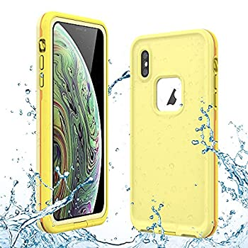 Gustave iPhone Xs Waterproof Case iPhone X Waterproof Case Wireless Charging Support Waterproof Shockproof Full-Body Rugged Cover Case with Built-in Screen Protector for iPhone Xs/X 5.8 inch Yellow