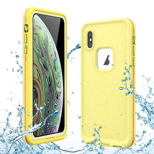 Gustave iPhone Xs Waterproof Case, iPhone X Waterproof Case Wireless Charging Support Waterproof Shockproof Full-Body Rugged Cover Case with Built-in Screen Protector for iPhone Xs/X 5.8 inch(Yellow)