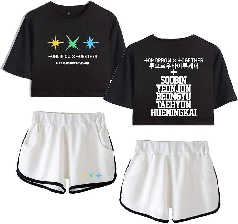 TXT Conjuntos Deportivos para Mujer Chándales Deportiva Camiseta y Pantalones Crop Top Deportiva Corto T-Shirt Verano para Yoga Fitness