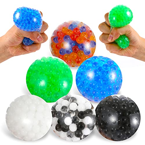 Sensory Stress Ball with Water Bead 6 Pack Fidget Toy Anxiety Stress Relief Improve Focus Squeeze Ball Finger Exercise Soft Squishy Toy Ideal Calming Tool for Kids and Adults with ADHD, Autism