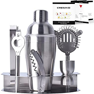 Home Cocktail Bar Set by Cresimo – Stainless Steel 7 Piece Professional Bar Tool Kit – 100% GUARANTEE AND WARRANTY. Includes Martini Shaker, Strainer, Jigger and More!
