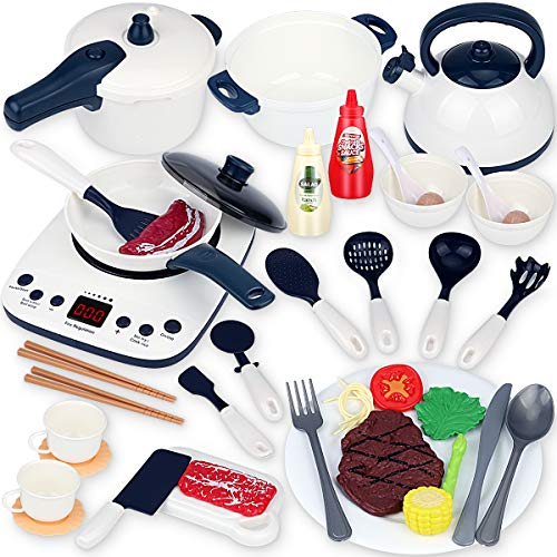 Boogem Kids Kitchen Play Toys Set, Kitchen Pretend Toys with Induction Cooktop, Pressure Pots and Pans Cookware Playset, Birthday Gifts for 3 4 5 6 Year Olds Children Toddlers Baby Girls Boys